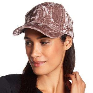 BCBG Lace Up Velvet Baseball Hat